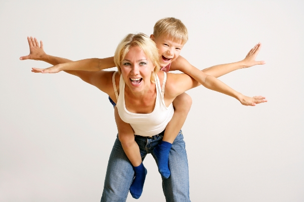 Mum flying with child