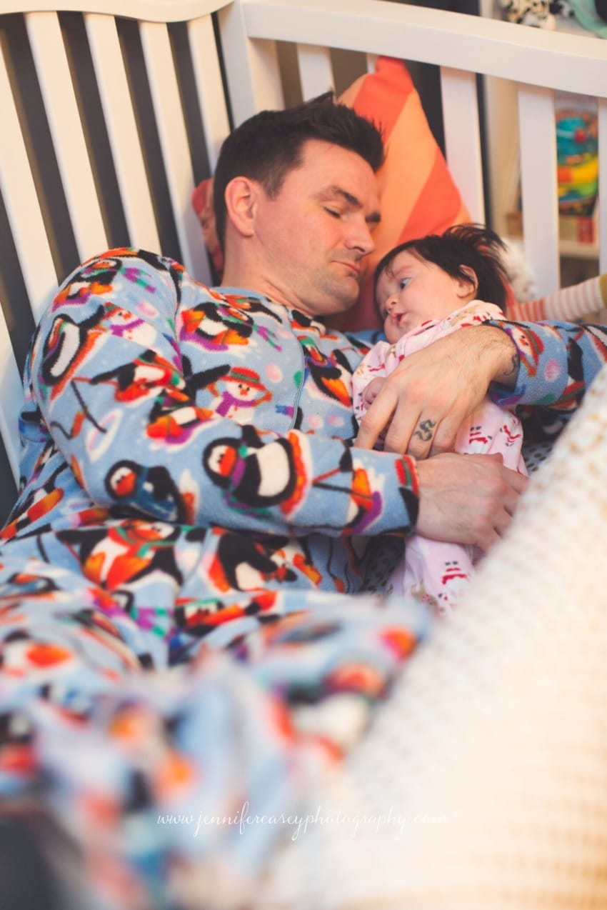 dad in onesie with baby