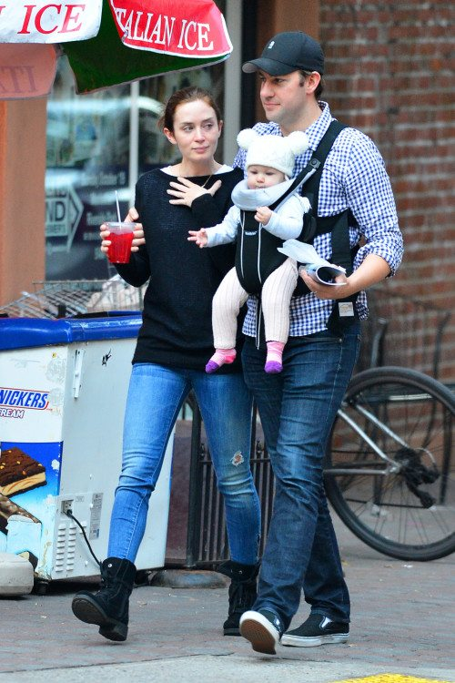 EXCLUSIVE: Emily Blunt and John Krasinski take their baby Hazel out in the West Village, New York City