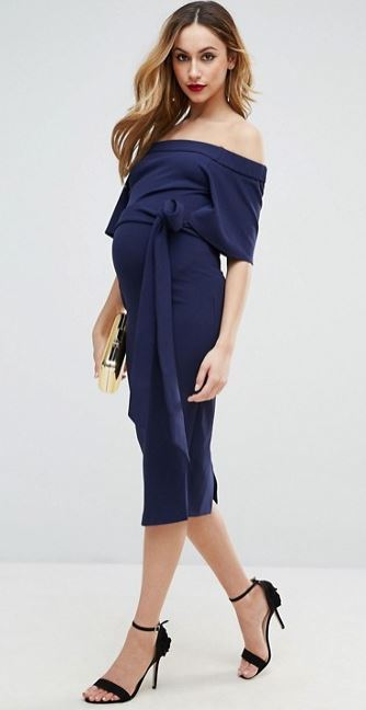 ASOS navy off the shoulder maternity dress
