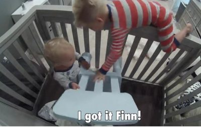 toddler catching baby brother escape