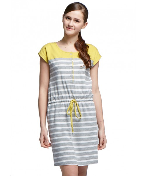 yellow and grey maternity dress